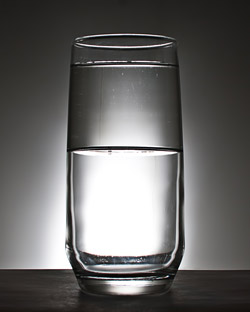 glass with water metaphor of bankruptcy