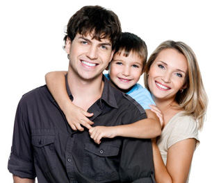 Happy family benefiting from bankruptcy