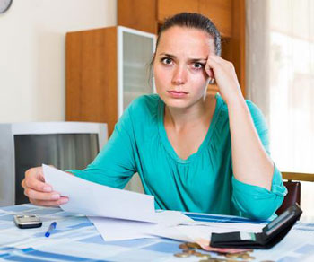 Woman worried about her debts
